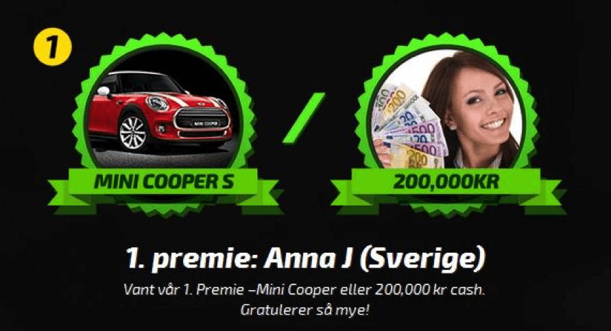 8. Juli - Anna vant 200 000 kr i Mobilbet sitt lotteri!